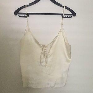 Brandy Melville cropped silk top